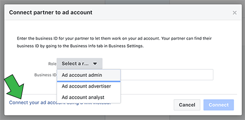 Click connect your ad account using the Partner ID