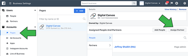 Select Pages and Click Assign Partner